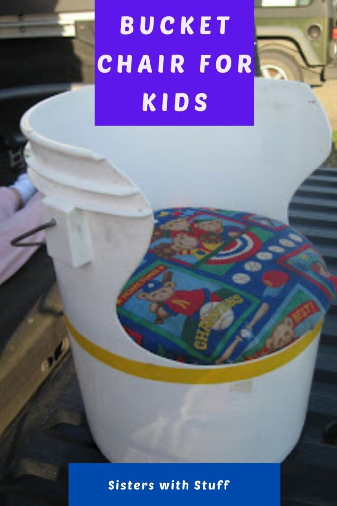 Kids chair repurposed from a bucket