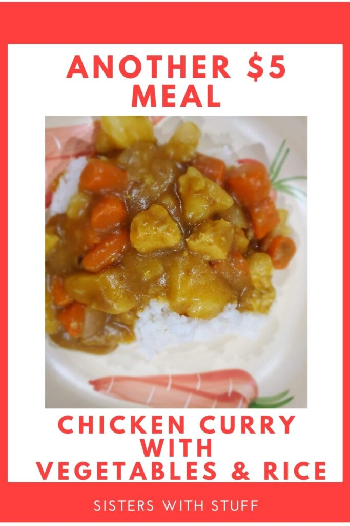 Another $5.00 Meal Chicken Curry with Vegetables & Rice