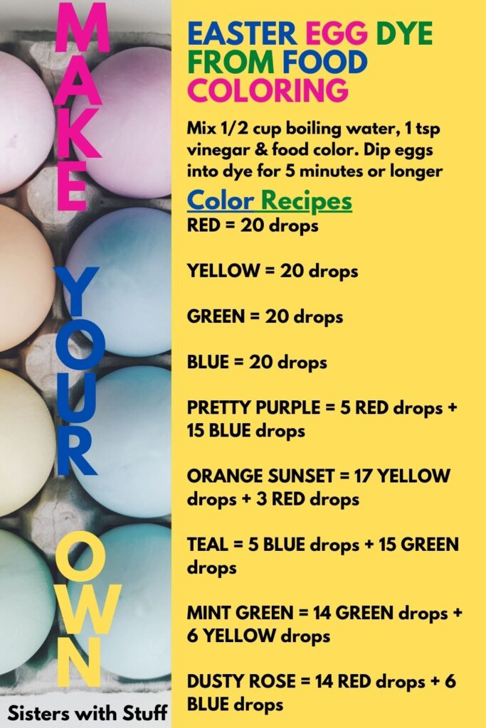 Make Easter Egg dye from Food Coloring